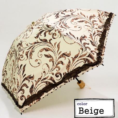晴雨兼用 つた柄フリル付ショート折畳み日傘